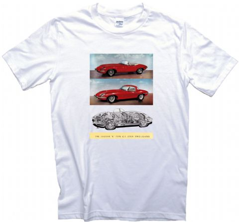 Jaguar E Type GT Two Seater Poster T-Shirt Adult, Ladies & Kids Sizes